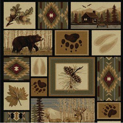 Rug with northwoods theme