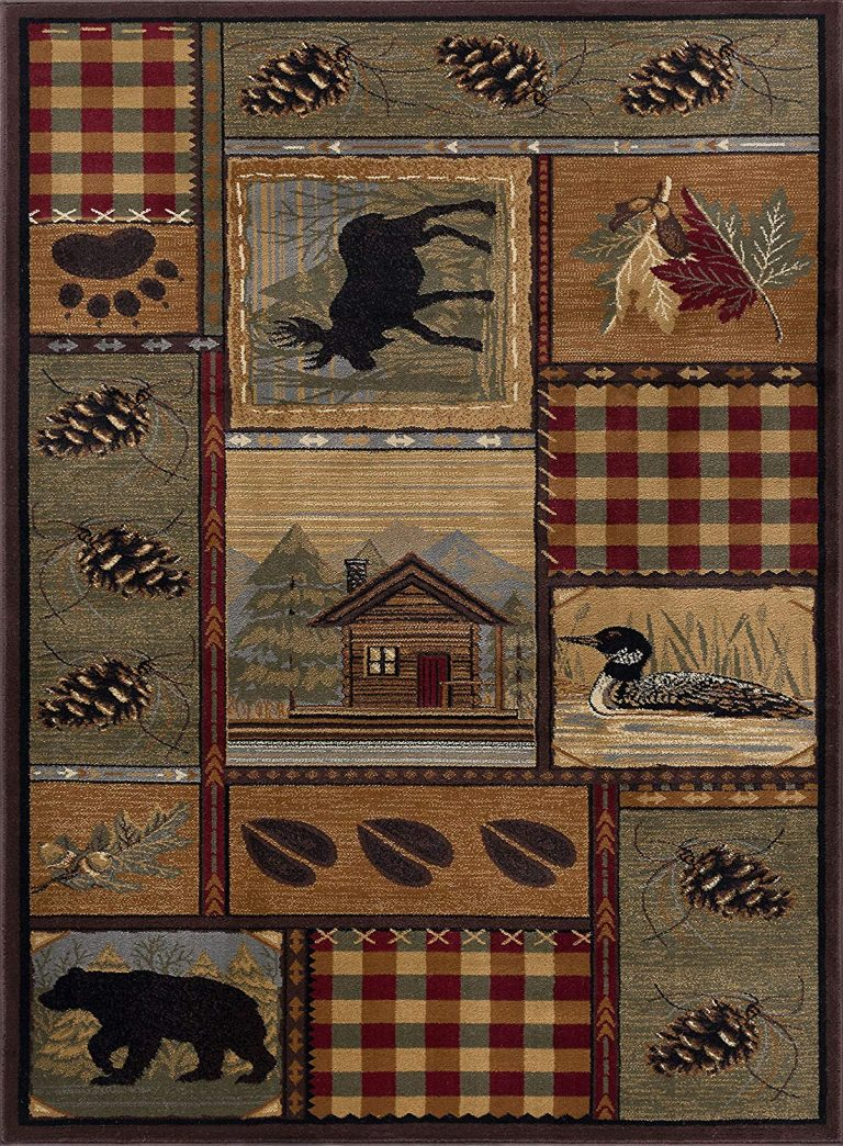 rug with moose, bears and loons in northwoods theme