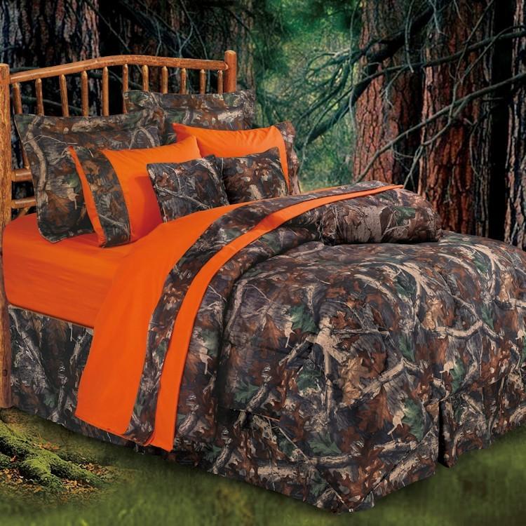 Oak camo bedding with bright orange trim