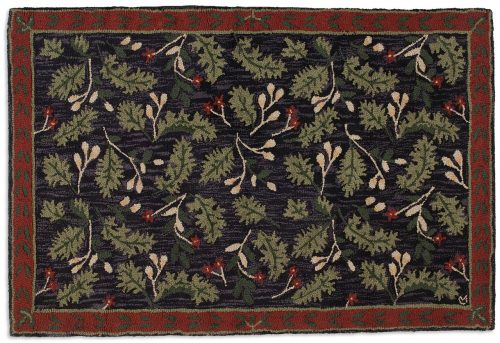 wool rug with pretty oak leaves against a dark background