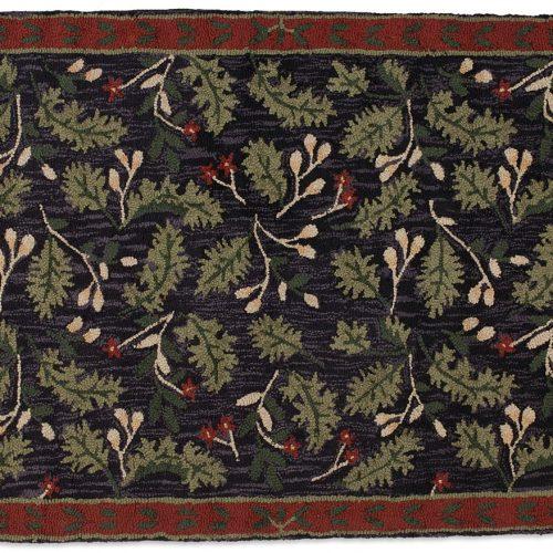 wool rug with pretty oak leaves against a dark background
