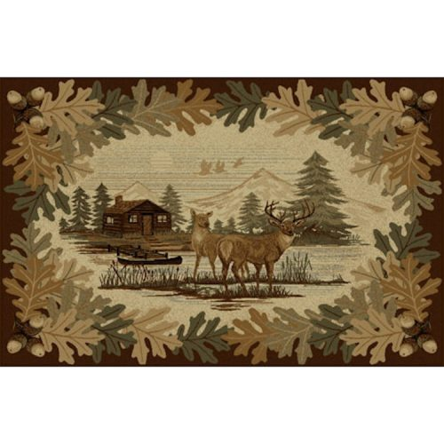 rug with two deer, log cabin and oak leaves border