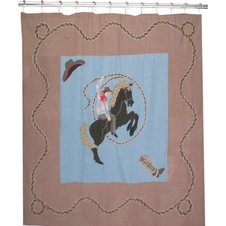 shower curtain featuring a cowboy with lasso at the rodeo