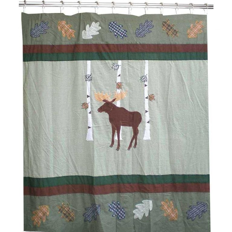 bull moose with birch trees on shower curtain