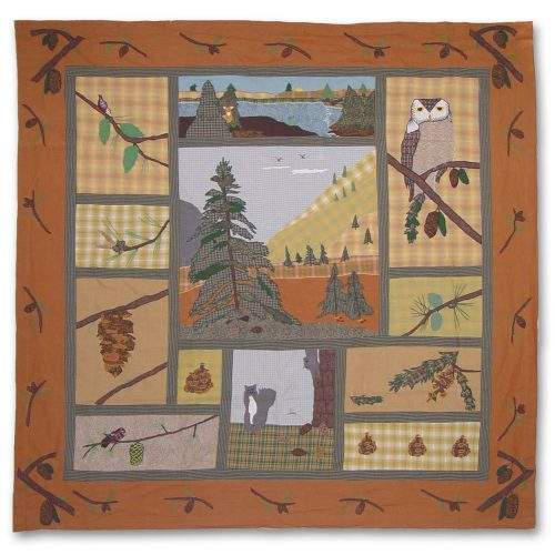 rustic shower curtain has the look of a patchwork quilt with appliqued figures