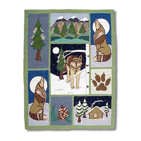 rug contains pictures of a cozy log cabin, wolves in the moonlight, pine trees, mountains, and a wolf paw print