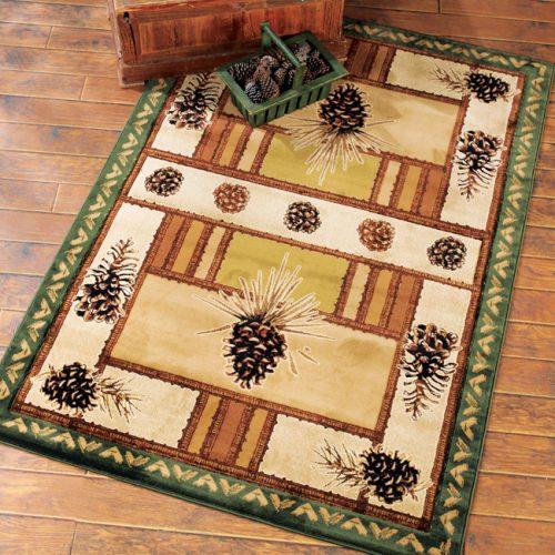 Adirondack-style pinecone designs on beige rug