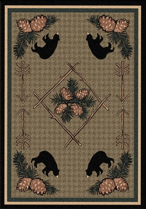 black bears and pine cones on green rug