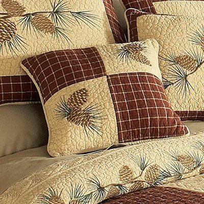 Donna Sharp quilt in beige and brown, with pine cones theme