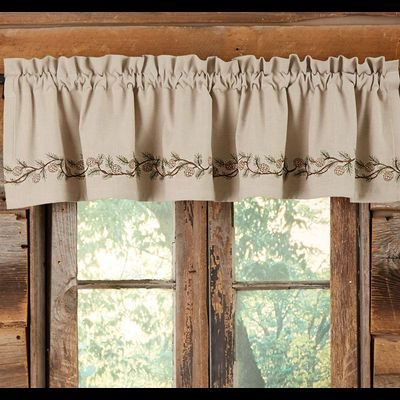Pretty beige valance with embroidered pine cones