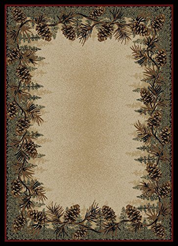 pine cones and branches on a cream cabin rug