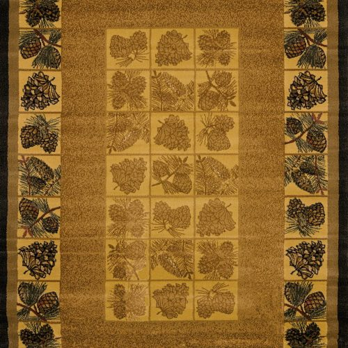 cute pine cones border natural color rug