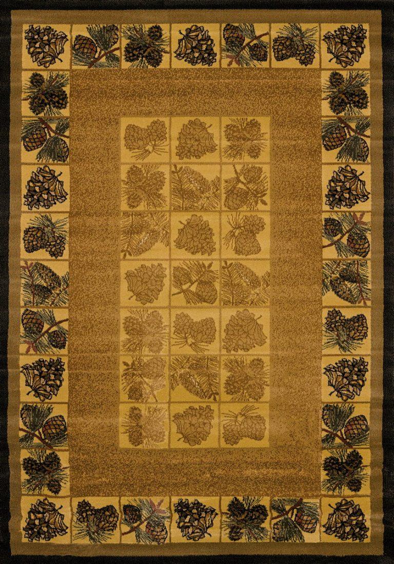 cute pine cones border natural color rug
