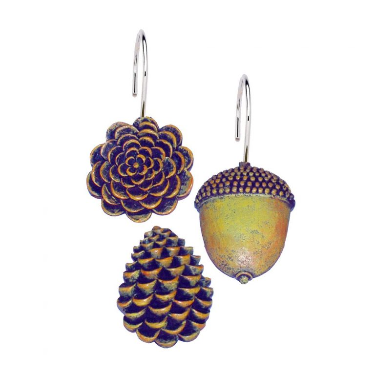 hand painted resin pine cones for shower curtain hooks