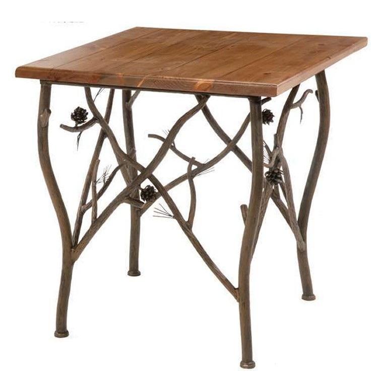 Pine side table with twigs