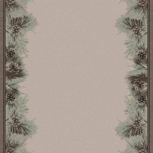 neutral color rug with pinecones and needles border