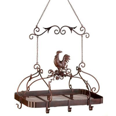 Pot rack with rooster are pretty kitchen décor