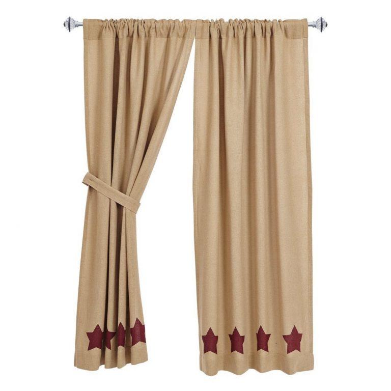 Burlap tier curtains with burgundy stars