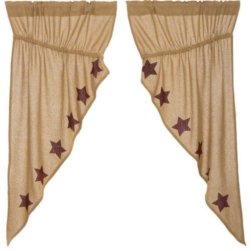 Prairie curtains with burgundy stars