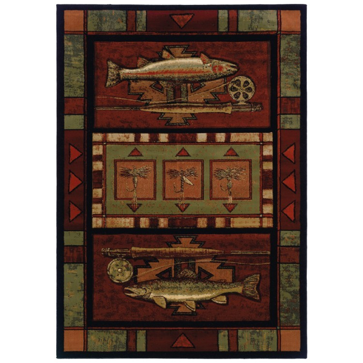 fly fishing theme with rods, rainbow trout and flies on a colorful rug