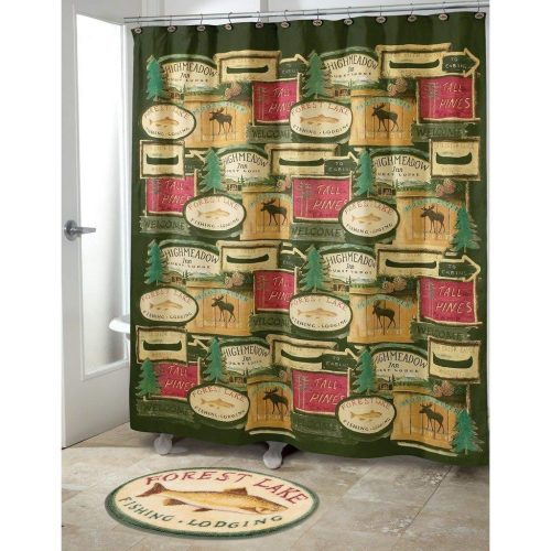 retired fishing resort signs on a green background adorn this fish shower curtain