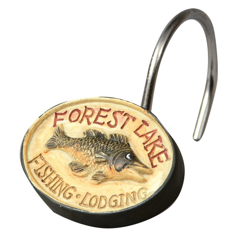 Vintage lodge signs on the resin Rather Be Fishing Shower Curtain Hook