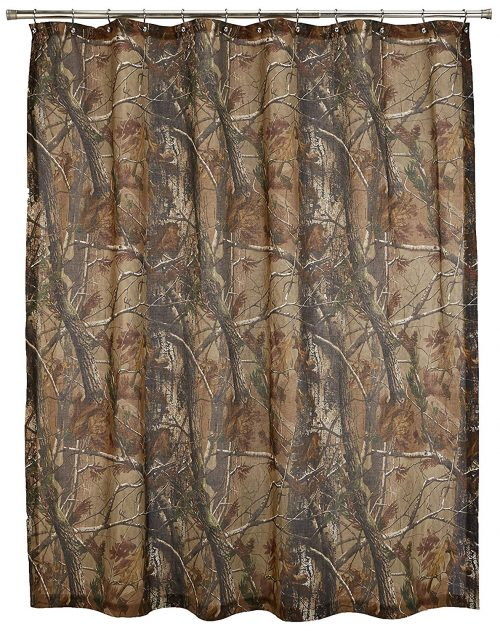 shower curtain with the realtree AP (all purpose) camo pattern