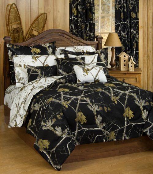 Realtree black camo comforter set