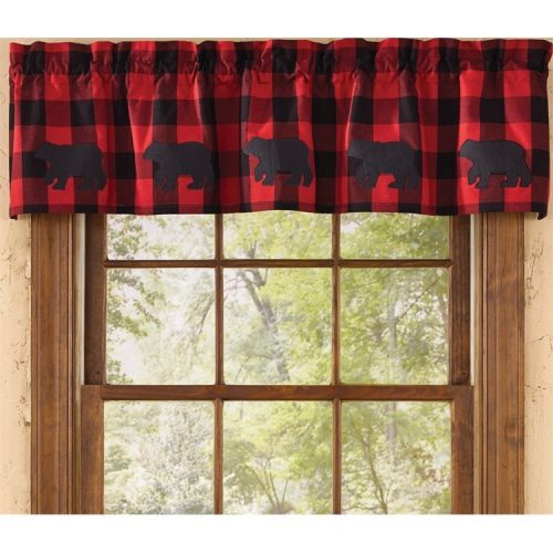 Red buffalo check valance with bears