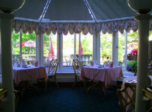 Restaurant with fabric valances
