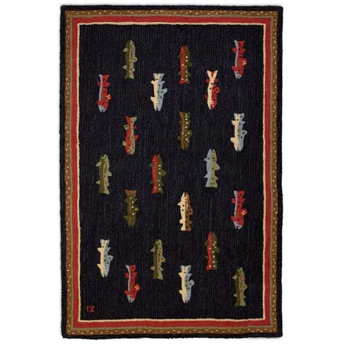 brightly colored river fish on a black rug