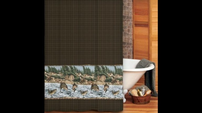 brown plaid shower curtain with bass, walleye and trout pictured jumping out of the river