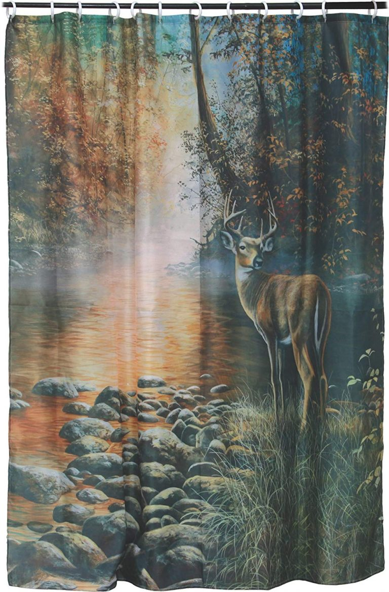 shower curtain with whitetail buck, standing beside a rocky stream