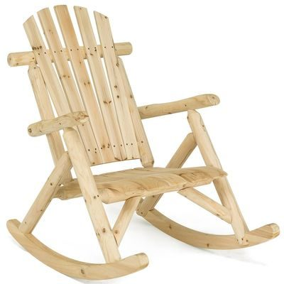 natural finish outdoor log rocking chair