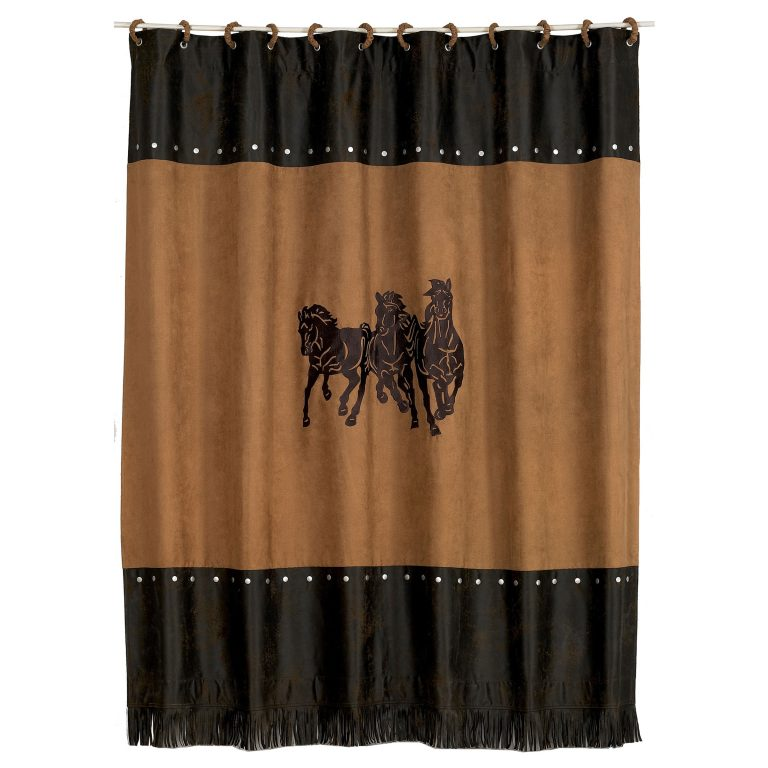 a trio of running horses embroidered on tan shower curtain