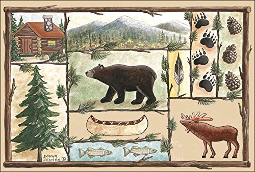 colorful doormat with bear, moose, fish, log cabin, pine trees