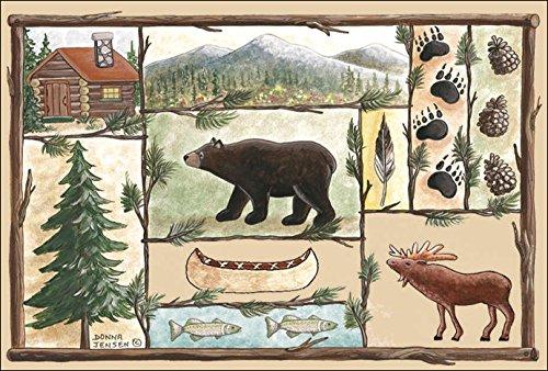 colorful doormat with bear, moose, fish, log cabin, pine trees