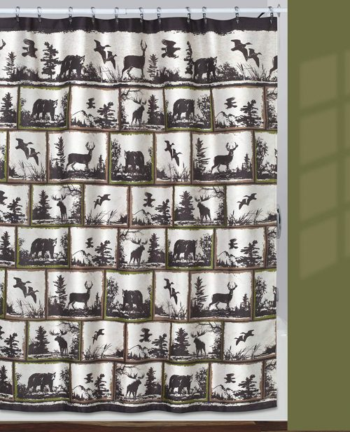 shower curtain with framed pictures of bears, birds in flight, flying ducks, moose and deer.