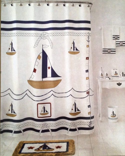 traditional navy and white shower curtain, with sailboats, waves and anchor lines