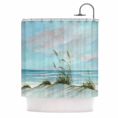 grasses growing on sand dunes pictured on shower curtain