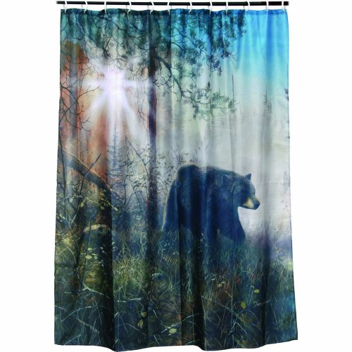shower curtain with black bear roaming through the forest in the morning mist