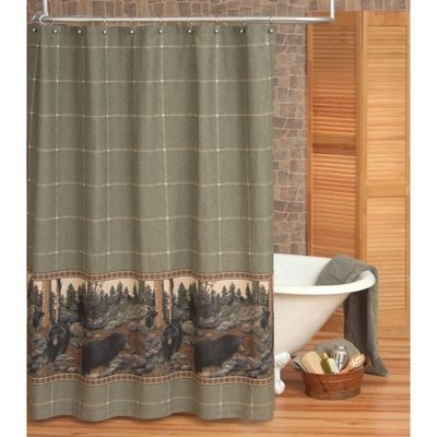 Sage green shower curtain with bears
