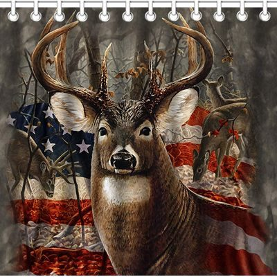 Shower curtain with deer and American flag