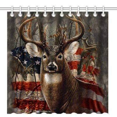 Shower curtain with deer head and American flag