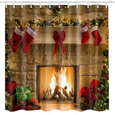 Christmas shower curtain with fireplace burning