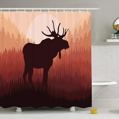 Shower curtain with large moose silhouette