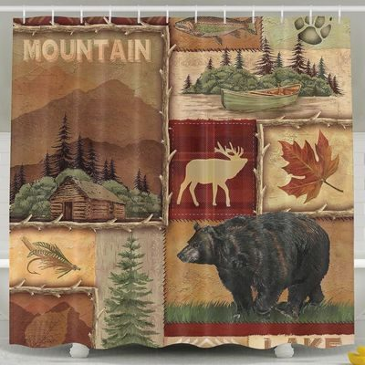 Northwoods shower curtain with animal motifs