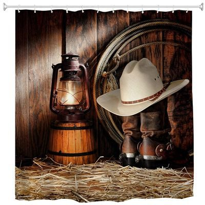 Western shower curtain with cowboy hat and boots