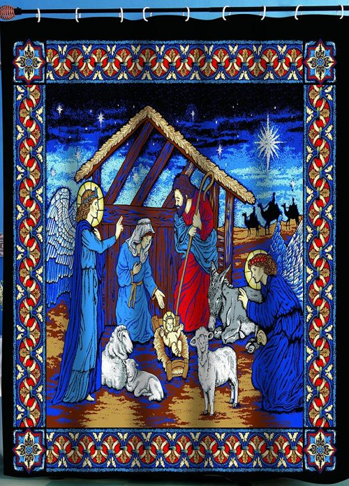 nativity scene depicts the birth of Christ on this striking Christmas shower curtain
