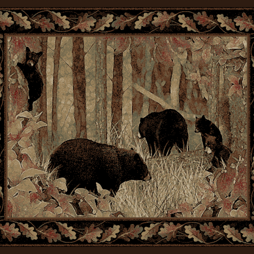 rug with a mama and papa bear with 3 cubs, along the grassy edge of a wooded forest.